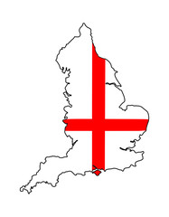 England outline with flag overlaid
