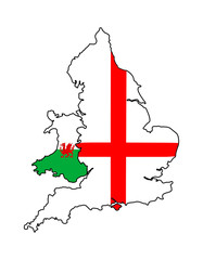 England Wales outlines with flags overlaid