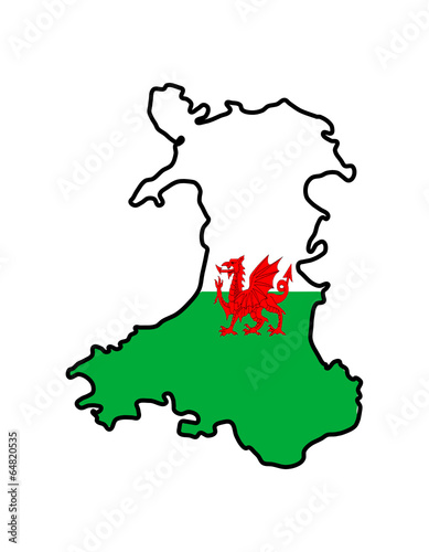 Wales outline with flag overlaid