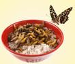 papillon sur rebord de bol chinois : riz et larves frites