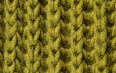 woolen texture background, knitted wool fabric, green hairy