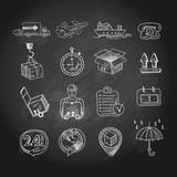 Logistic chalk board icons set - 64821926
