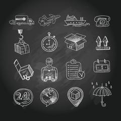 Logistic chalk board icons set