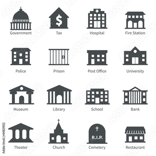 Government buildings icons - 64821922