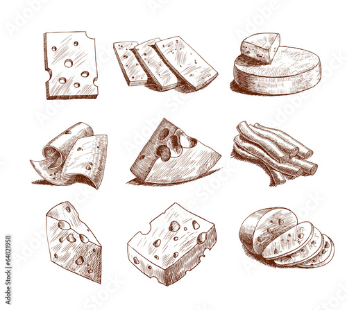 Staande foto Boodschappen Cheese sketch collection