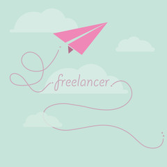 Paper plane as freelancer concept design