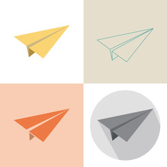 Paper plane in four design.