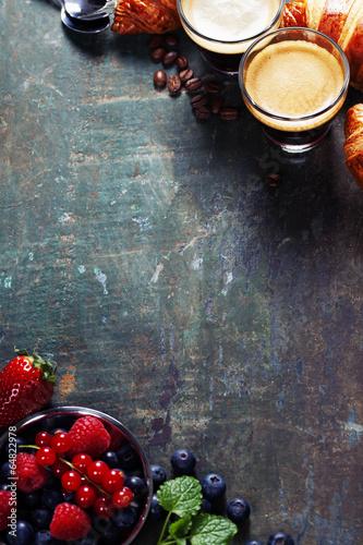 Coffee with croissants and berries © Natalia Klenova