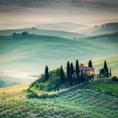 Tuscany, sunrise landscape, Italy