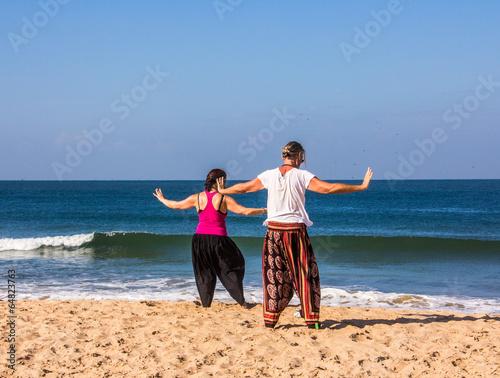 Qigong at the beach of Goa