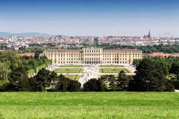 Panoramic view of Vienna and Schonbrunn palace