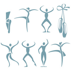 Selection of figures in different dance poses and ballet shoes