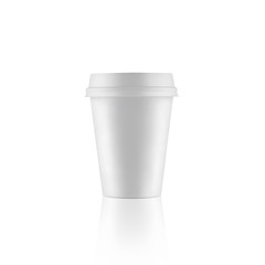 Short white take-out coffee cup