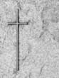 Leinwanddruck Bild - Kreuz auf Grabstein
