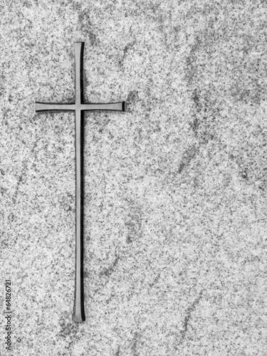 Leinwanddruck Bild Kreuz auf Grabstein
