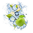 Ice green apple on white background