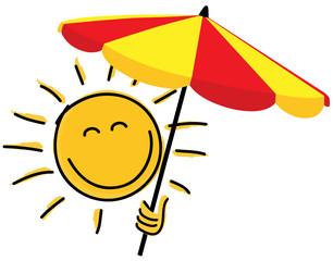 Sonne mit Sonnenschirm