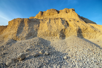 Sand quarry construction in evening light