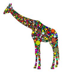 giraffa composta da cerchi colorati