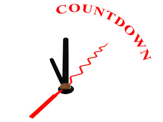 clock with hands pointing to the word Countdown