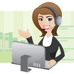 cartoon girl callcenter with computer