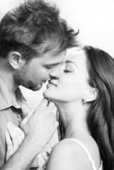 couple kissing closeup