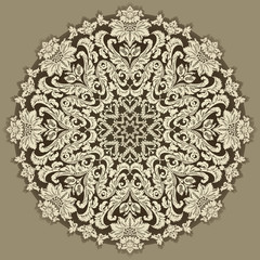 Decorative floral round pattern