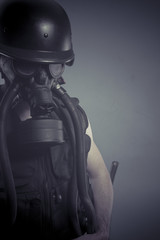 Protective, Man with black gas mask, pollution