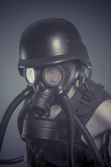 Inhalation, Man with black gas mask, pollution concept and ecolo