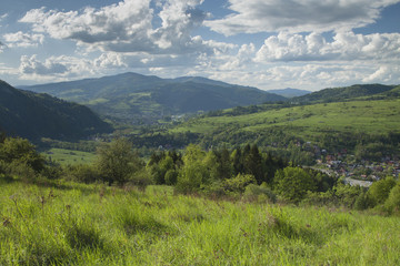 Poland, Panoramic Viev of Gorce Mountain Range, Spectacular Clou