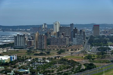 Above view to Durban cityscape, South Africa