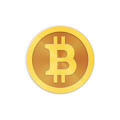 Vector gold bitcoin isolated on white background