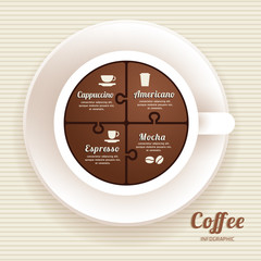 Infographic Template with Coffee Cup Jigsaw banner . concept vec
