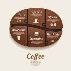 Infographic Template with Coffee Bean Jigsaw banner . concept ve