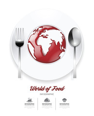 Infographic world of food Design template. tomato sauce on world