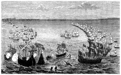 The Spanish Armada vs the English Fleet - 16th century