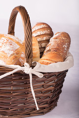 Fresh Bread and bakery in a basket
