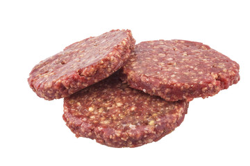 beef fresh burgers for hamburgers.  isolated on white background
