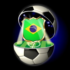 Open soccer ball with crest of BRAZIL