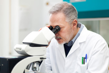 Researcher loooking through microscope
