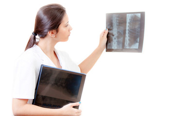 Nurse with radiography