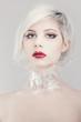 Pretty blonde fashion woman in plastic
