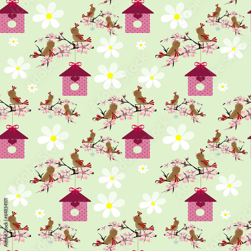 kreskowka-ptaki-i-wzor-bezszwowe-birdhouse