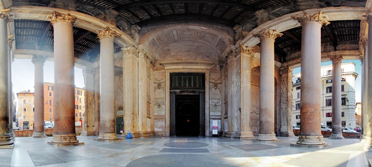 Pantheon - panorama with columns near entrance