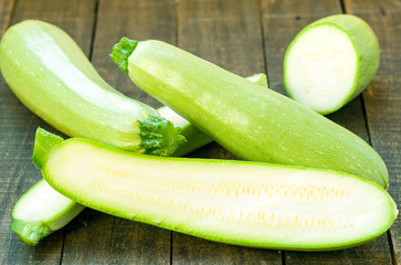 Green zucchinis are good for health and diet