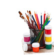 pencils, brushes, paints for drawing