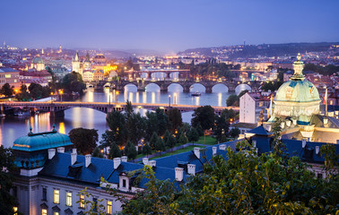 Bridges and skyline of Prague, Czech Republic