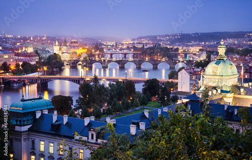 Papiers peints Prague Bridges and skyline of Prague, Czech Republic