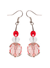 Earrings in red glass with silver elements. white background