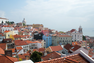 Lisbon city, Portugal. Aereal view on sunny day